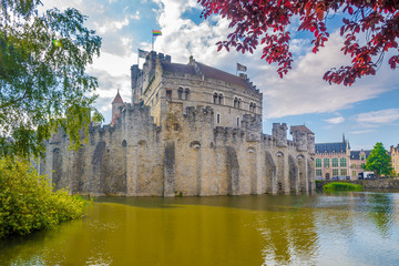 View at the Gravensteen castle in Ghent - Belgium