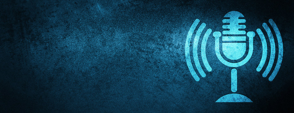 Mic icon special blue banner background
