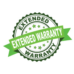 Green rubber stamp with extended warranty concept