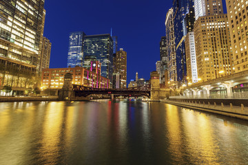 Wall Mural - Colorful architecture of Chicago at night