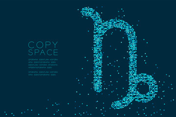 Abstract Star pattern Capricorn Zodiac sign shape, star constellation concept design blue color illustration isolated on dark blue background with copy space, vector eps 10