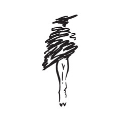Abstract free model in hat and short fur coat, hand drawn ink  doodle, sketch, outline black and white vector fashion illustration