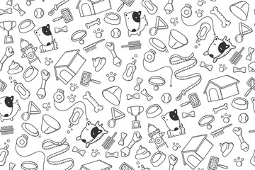 Seamless pattern background Dog and equipment kids hand drawing set illustration black color isolated on white background