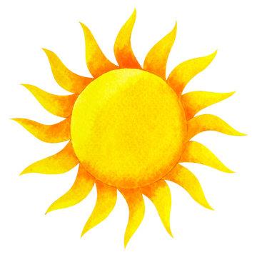 yellow color of chakra symbol solar plexus sun concept, watercolor painting hand drawn icon logo, illustration design sign