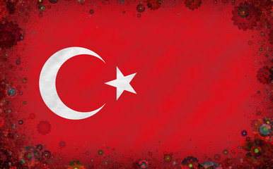 Illustration of a Turkish flag with a blossom motives as a frame