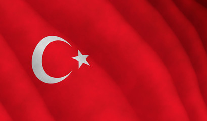 Illustration of a flying Turkish flag
