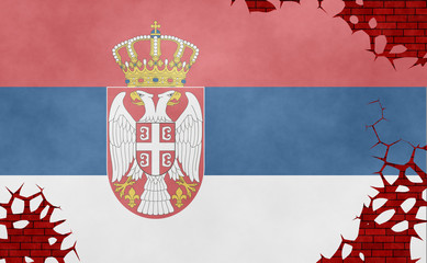 Illustration of a Serbian flag, imitation of a painting on the cracked wall