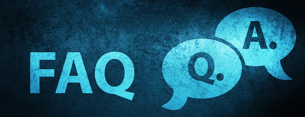 Faq (question answer bubble icon) special blue banner background