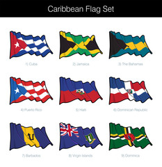 Caribbean Waving Flag Set