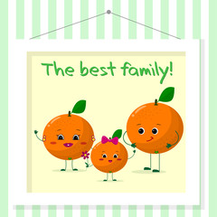 Family of oranges smileys, mom, dad and kid in cartoon style. Pictured in a painting that hangs on a striped wall.