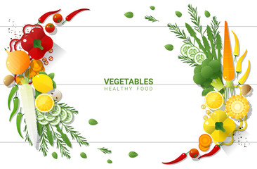 Flat lay Fresh vegetables on white table background , healthy food concept , vector , illustration