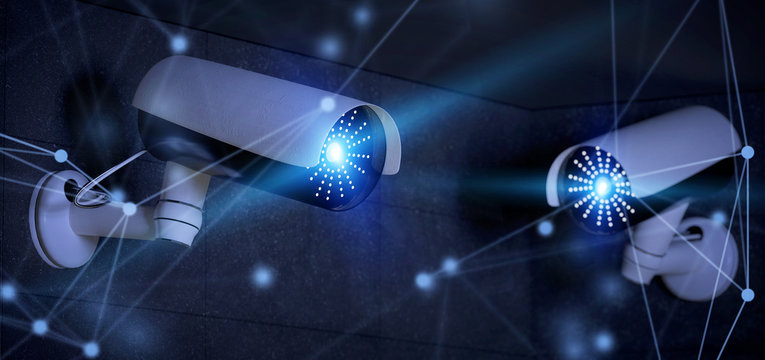 Conncetion over a security cctv camera system - 3d rendering