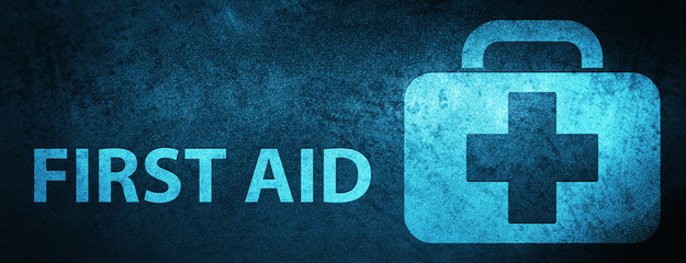 First aid special blue banner background