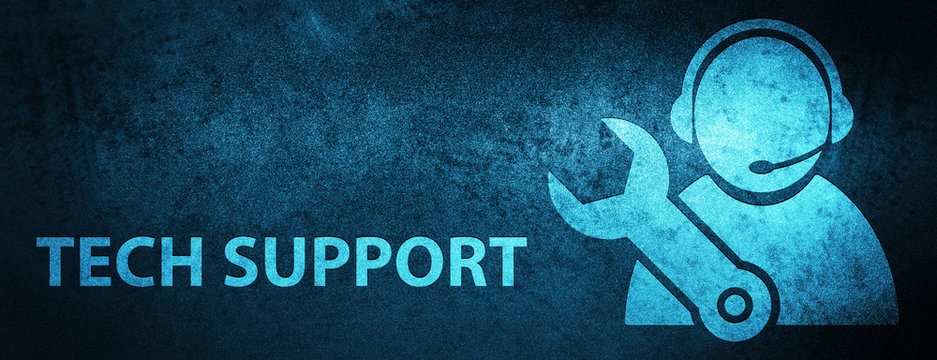 Tech support special blue banner background