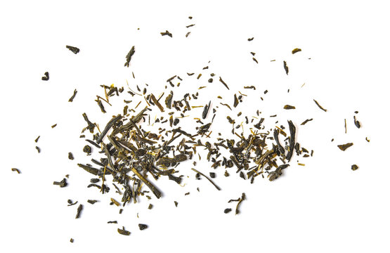 Dried tea leaves isolated on white background
