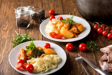 Lagman with pasta. National dish.
