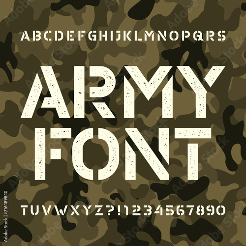 Army stencil alphabet font  Messy type letters and numbers