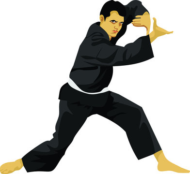 Pencak Silat Indonesian Martial Art Vector Illustration