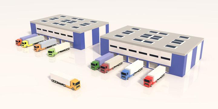 Logistics center with trucks. 3D render.