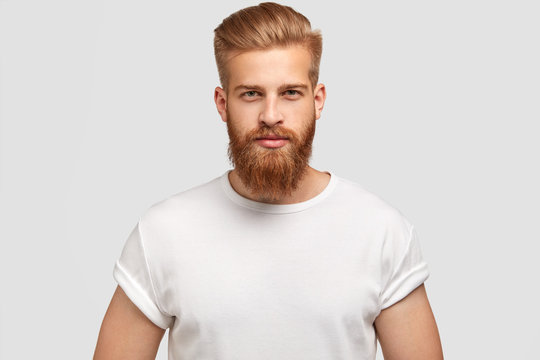 Horizontal shot of prosperous male enterpreneur with appealing look, thick ginger beard, has serious look at camera, listens attentively investors, wears casual t shirt, isolated on white wall