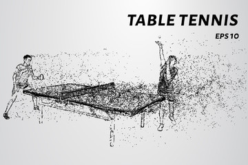 Particle table tennis. Table tennis consists of circles and dots.