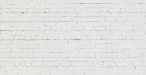 Panoramic White Brick Wall Background