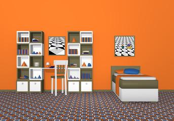 Jugendzimmer in Olivgrün-weiß, mit kräftigen Zimmerfarben. Aus Vorderansicht. 3d Render