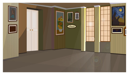 Art gallery with pictures on walls vector illustration. Empty home room with window and door. Museum concept