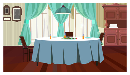 Cozy dining room with table vector illustration. Served table with blue cloth and hanging lamp above it. Home concept