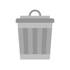 Trash can, cleaning and laundry service related flat icon set