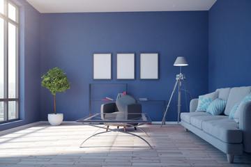 Contemporary blue living room