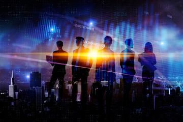 Teamwork, finance and success concept