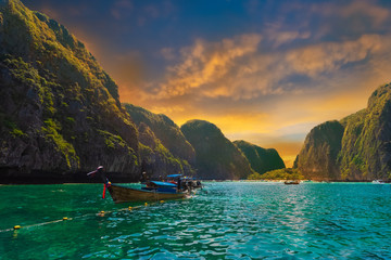 Maya bay at sunset, tropical tourist attraction scene in Thailand