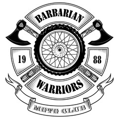 Emblem of the motorcycle club, motorcycle wheel and the crossed axes of the Vikings