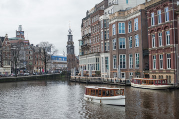 Canal with Boat in Amsterdam