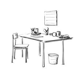 Table with paper and workplace drawn by hand doodle style. Vector illustration.