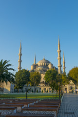 Exterior of Sultanahmet (Blue mosque) in Istanbul, Turkey during falls.