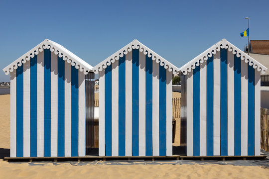 Beach huts at Chatelaillon Plage near La Rochelle - France