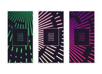Abstract banners in minimalistic style. Digital linear pattern. Vector template