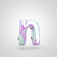 Unicorn skin letter N lowercase isolated on white background.