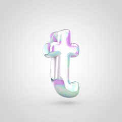 Unicorn skin letter T lowercase isolated on white background.