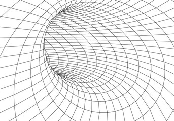 Tunnel or wormhole. 3D tunnel grid. 3d tube corridor. Network cyber technology. Background abstract vector image