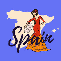map of spain flat with flamenko dancing woman