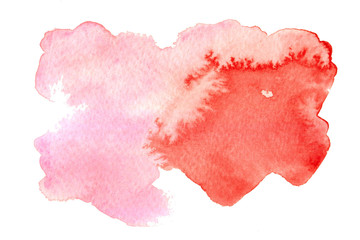 Pink watercolor background on whit