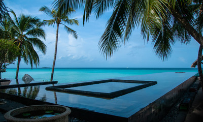 Ideal vacation. Pool on the beach of Indian ocean