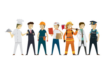 Group people professions a diverse collection flat style isolated background. illustration vector