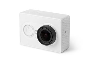 White action camera, isolated on white background
