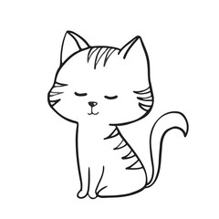 sleeping cat on white background Hand drawn outlined vector