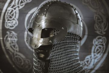 antivirus or firewall concept, Viking warrior helmet with chainmail over silver shield