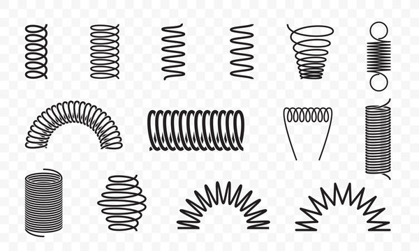 Spiral springs different shapes vector line icons